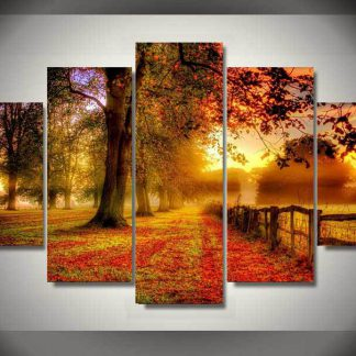 5 Panels Sunset in Autumn Multi Piece Framed Canvas Art Poster Print