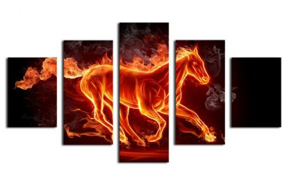 5 Panels Flaming Stallion Multi Piece Framed Canvas Art Poster Print