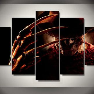 5 Panels Freddy Krueger Multi Piece Framed Canvas Art Poster Print