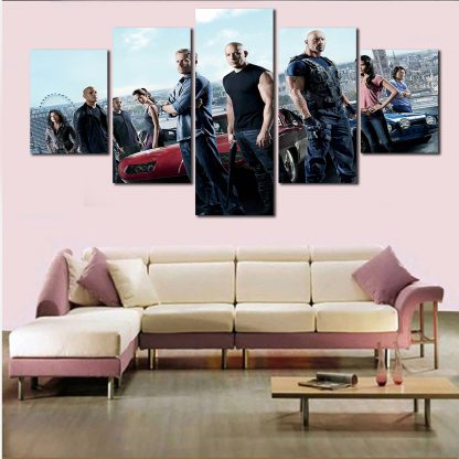 5 Panels Fast And Furious Multi Piece Framed Canvas Art Poster Print