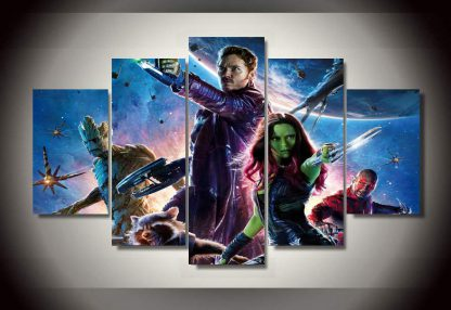 5 Panels Guardians of the Galaxy Multi Piece Framed Canvas Art Poster Print