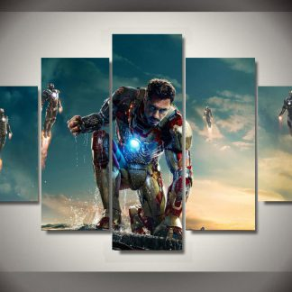 5 Panels Marvel Ironman Multi Piece Framed Canvas Art Poster Print