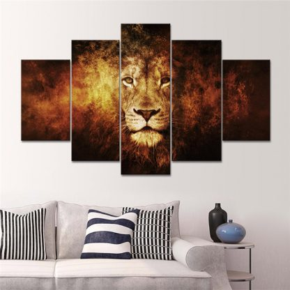 5 Panels Face of The King Multi Piece Framed Canvas Art Poster Print