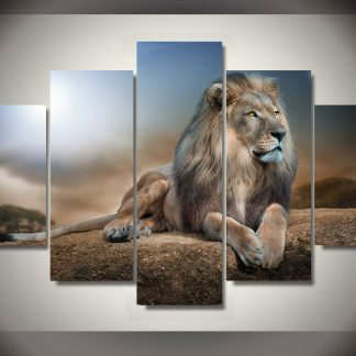 5 Panels Vigilant Lion Multi Piece Framed Canvas Art Poster Print