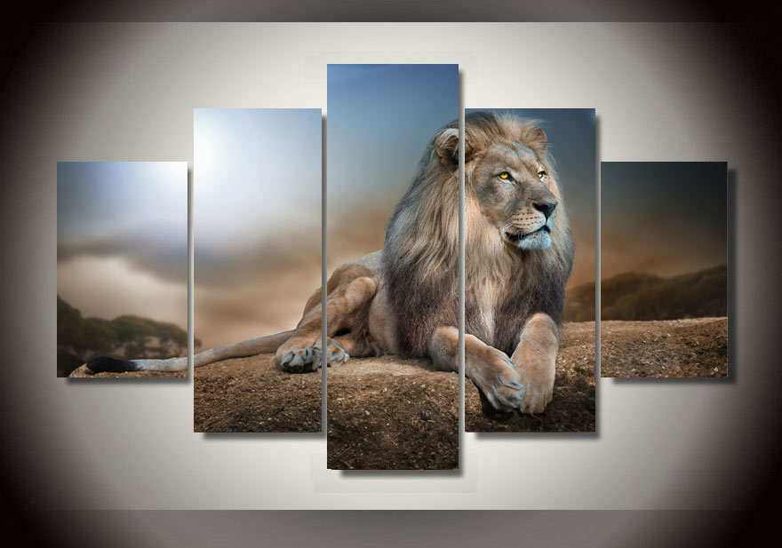 Cheap Cars For Sale >> 5 Panels Lion Jungle King Group Artwork | Multi Canvas Art