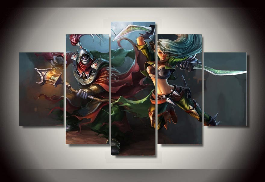 5 Panels 5 Panels Leauge Of Legends Group Artwork Framed Poster Print Canvas Art Multi Piece