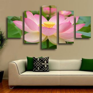 5 Panels Sacred Lotus Flower Multi Piece Framed Canvas Art Poster Print