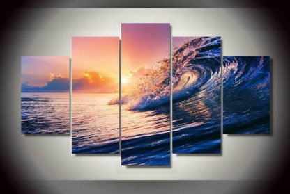 5 Panels Wave Oceanview Multi Piece Framed Canvas Art Poster Print