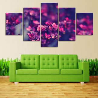 5 Panels Purple Orchid Flowers Multi Piece Framed Canvas Art Poster Print