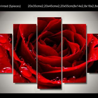 5 Panels Red Rose Multi Piece Framed Canvas Art Poster Print