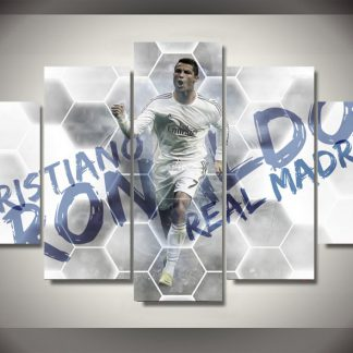 5 Panels Cristiano Ronaldo Multi Piece Framed Canvas Art Poster Print