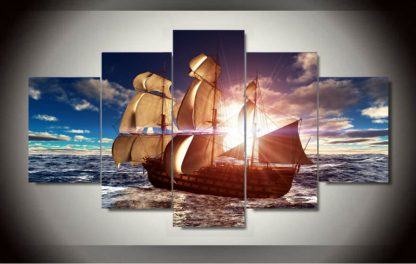 5 Panels Sailing Ship In Ocean Multi Piece Framed Canvas Art Poster Print