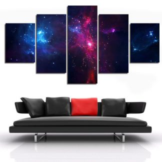 5 Panels Space View Multi Piece Framed Canvas Art Poster Print