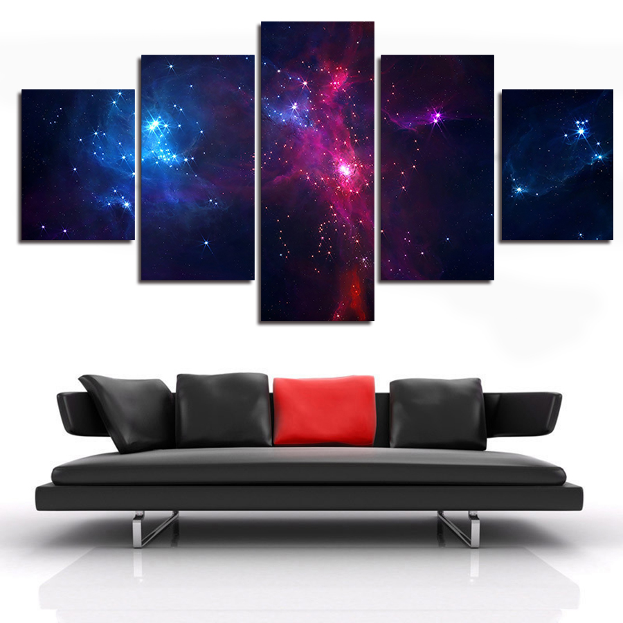 5 Panel Outer Space Canvas Art