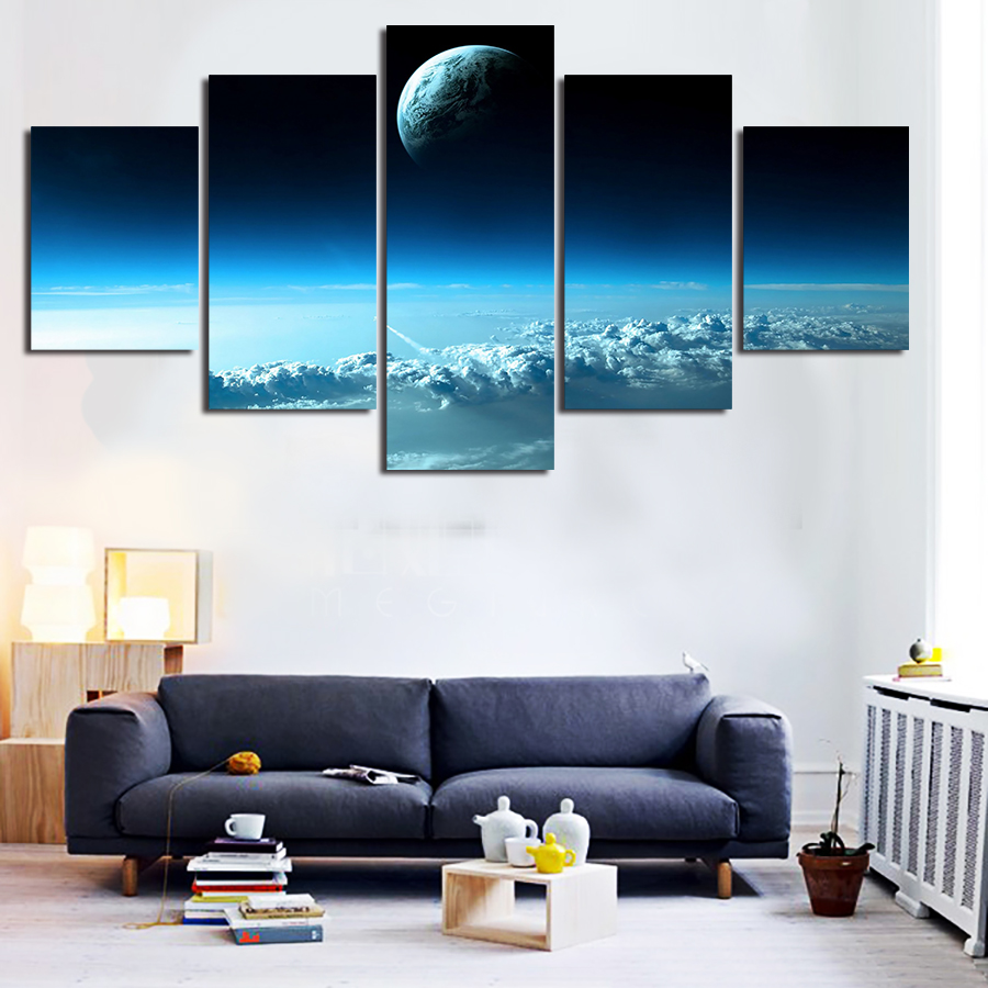 5 Panels 5 Panels Outer Space View Group Artwork Framed Poster Print Canvas Art Multi Piece