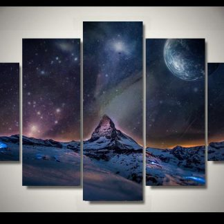 5 Panels Arctic Space View Multi Piece Framed Canvas Art Poster Print
