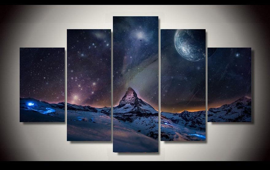 5 Panels 5 Panels Space View Night Group Artwork Framed