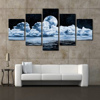5 Panels Spaceview at Night Multi Piece Framed Canvas Art