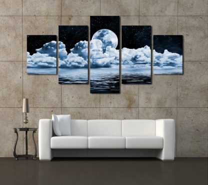 5 Panels Full Moon View Multi Piece Framed Canvas Art Poster Print