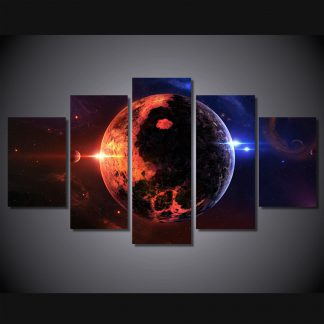 5 Panels Red Blue Space View Multi Piece Framed Canvas Art