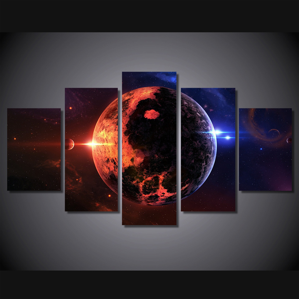 5 Panels Outer Space View Group Artwork Multi Canvas Art