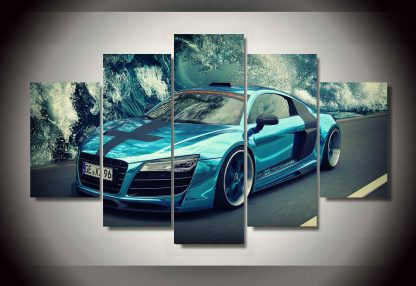 5 Panels Blue Sports Car Multi Piece Framed Canvas Art Poster Print