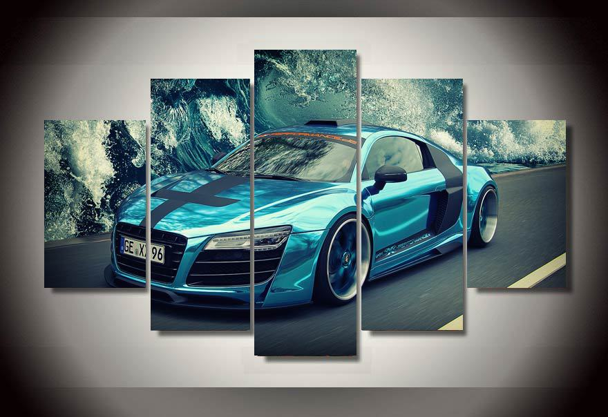 5 Panels Racing Sports Car Group Artwork Multi Canvas Art