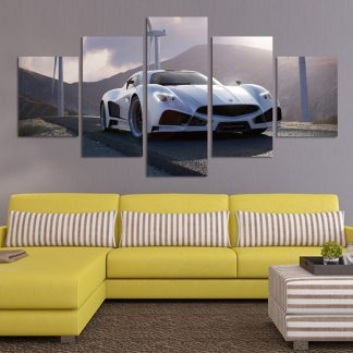 5 Panels White Sports Car Multi Piece Framed Canvas Art Poster Print