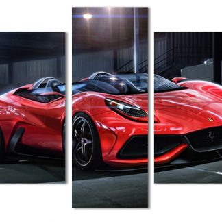 5 Panels Red Sports Car Multi Piece Framed Canvas Art Poster Print