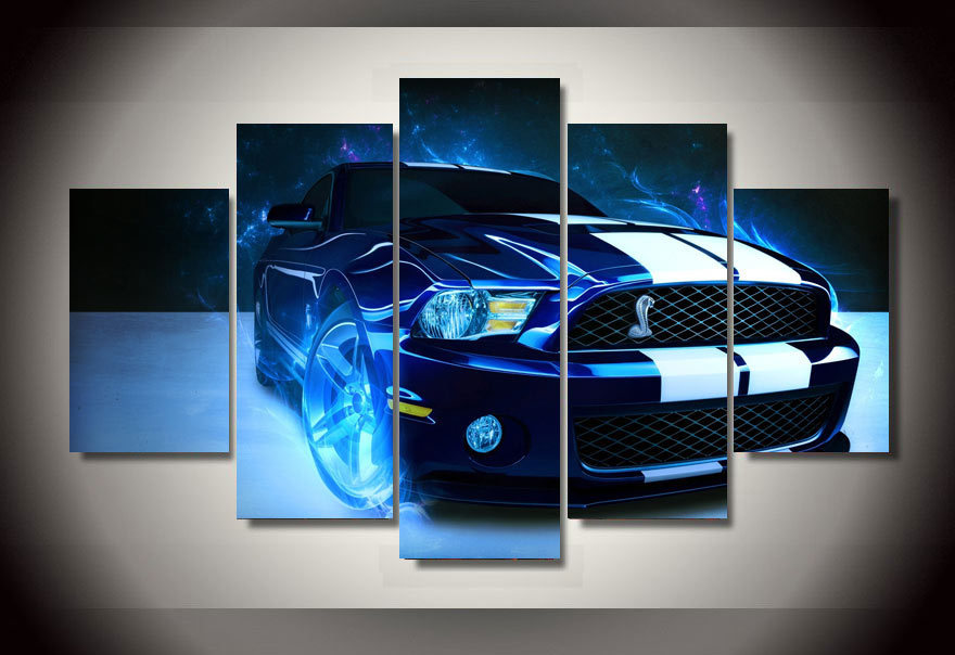 5 Panels 5 Panels Racing Sports Car Group Artwork Framed