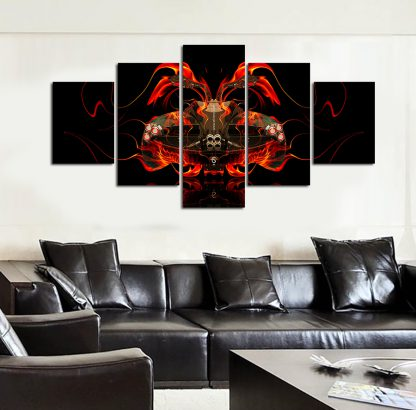 5 Panels Flaming Sports Car Multi Piece Framed Canvas Art Poster Print