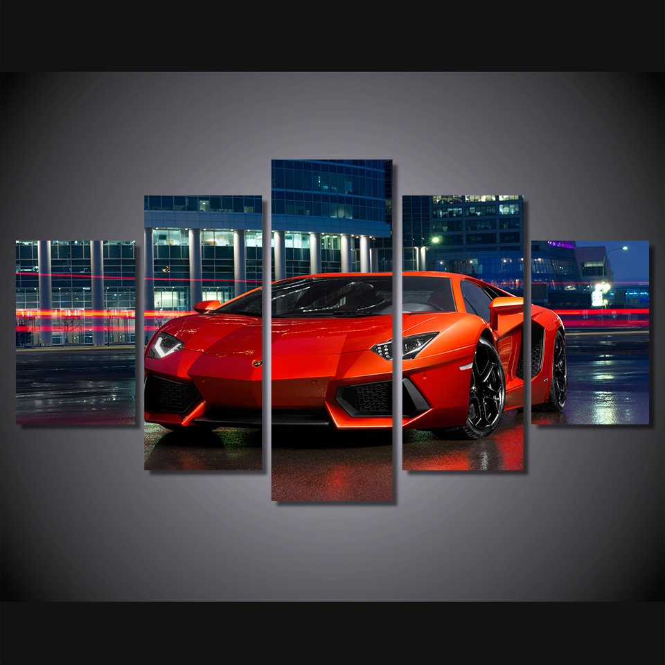5 Panels Red Sports Car Group Artwork Multi Canvas Art