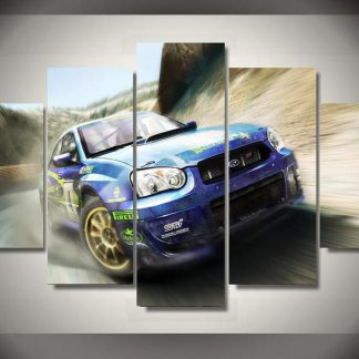 5 Panels Subaru Sports Car Multi Piece Framed Canvas Art Poster Print