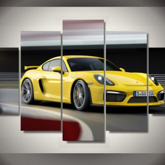 5 Panels Yellow Sports Car Multi Piece Framed Canvas Art Poster Print