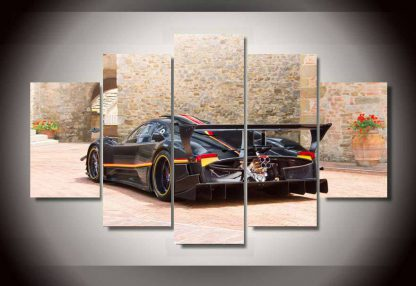 5 Panels Black Sports Car Multi Piece Framed Canvas Art Poster Print