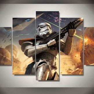 5 Panels Star Wars Storm Trooper Multi Piece Framed Canvas Art Poster Print