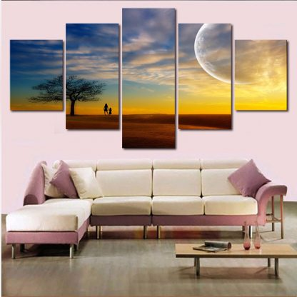 5 Panels Sunset In a Savannah Multi Piece Framed Canvas Art Poster Print