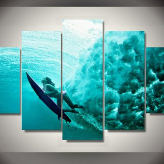 5 Panels Innovative Surfing Multi Piece Framed Canvas Art Poster Print