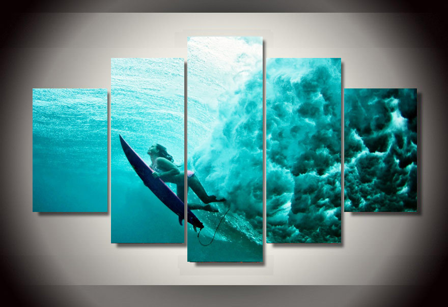 5 Panels Underwater Ocean Group Artwork Multi Canvas Art