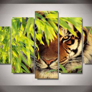 5 Panels Tiger Multi Piece Framed Canvas Art Poster Print
