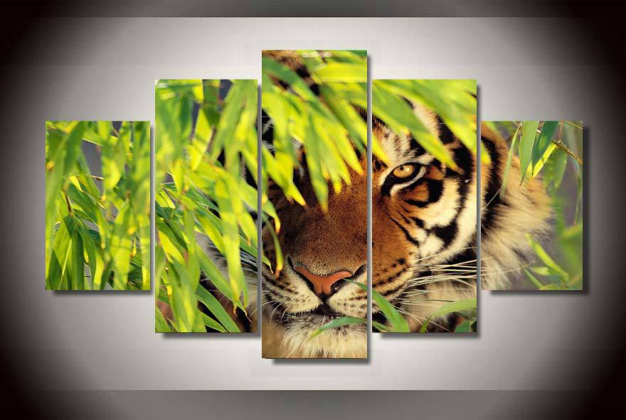 5 Panels 5 Panels Indian Tiger Group Artwork Framed Poster Print Canvas Art Multi Piece