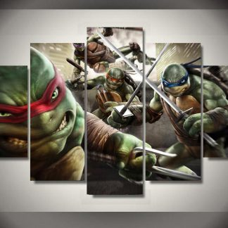 5 Panels Teenage Mutant Ninja Turtles Multi Piece Framed Canvas Art Poster Print