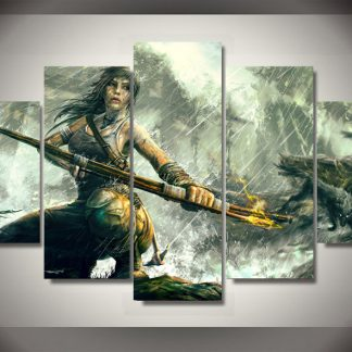 5 Panels Tomb Raider Multi Piece Framed Canvas Art Poster Print