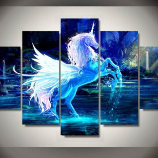 5 Panels Magnificent Unicorn Multi Piece Framed Canvas Art Poster Print