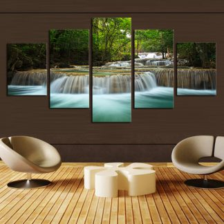 5 Panels Deep Forest Waterfall Multi Piece Framed Canvas Art Poster Print