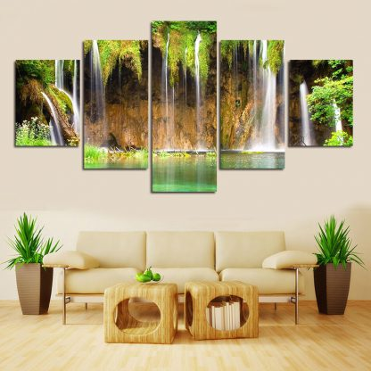 5 Panels Classic Waterfall Multi Piece Framed Canvas Art Poster Print