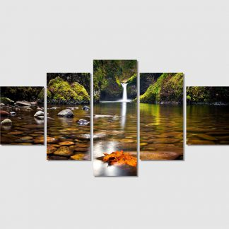 5 Panels River By The Waterfall Multi Piece Framed Canvas Art Poster Print