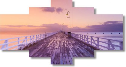 5 Panels Bridge Over Ocean Multi Piece Framed Canvas Art Poster Print