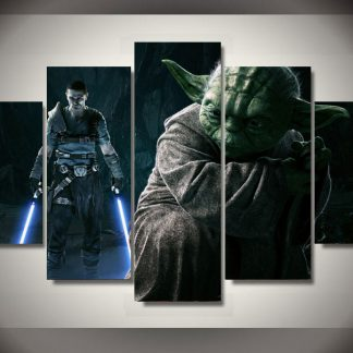 5 Panels Star Wars Yoda Multi Piece Framed Canvas Art Poster Print