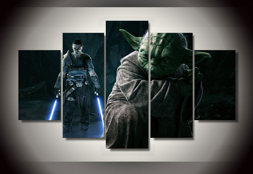 5 Panels Star Wars Yoda Group Artwork Multi Canvas Art